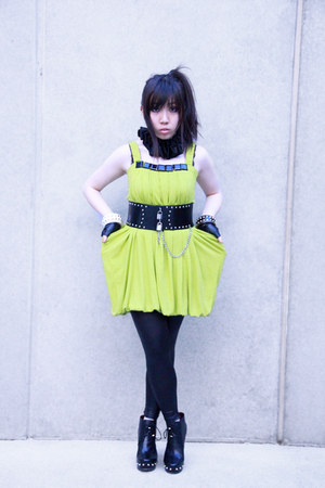 black studded Marc by Marc Jacobs boots - lime green KITTERICK dress