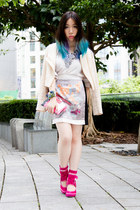 silver Flux skirt - eggshell ALY & RACHELLE blazer - hot pink longchamp bag
