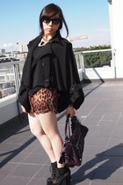bronze leopard print random shorts - black trench cape KITTERICK coat