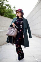 forest green Mulberry coat - tan Mulberry bag - black Mulberry top