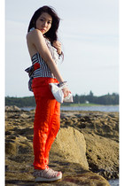 carrot orange silk sass & bide pants - white open back SLY vest