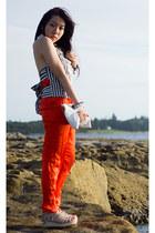 carrot orange silk sass & bide pants - white open back SLY vest