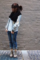 Levis jeans - silver Another jacket - Vanilla Suite wedges