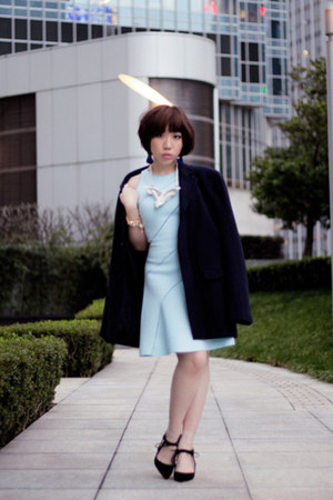 sky blue sachin  babi dress - navy boyfriends coat - black suede Zara heels