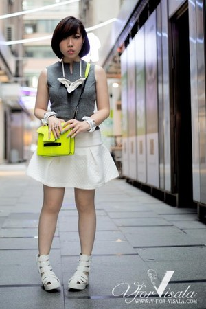 white platform asos sandals - lime green Mango bag - white mesh H&M top