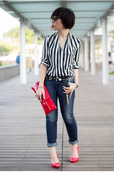 red Miu Miu bag - navy Levis jeans - crimson Salvatore Ferragamo sunglasses
