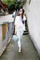 light blue H&M jeans - sky blue candy cookie Furla bag - white Spiral girl top