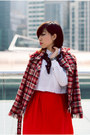 Ruby-red-tweed-azul-by-moussy-japan-blazer-white-cropped-zara-shirt