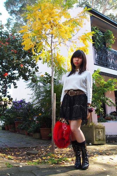 red fur Ramdon HK bag - leopard print H&M belt - laced Forever21 skirt - H&M top