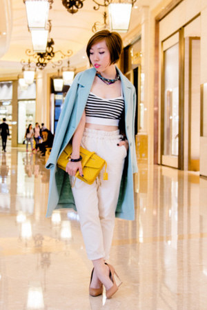 sky blue pastel SLY coat - gold Furla bag - off white SLY pants