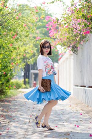 brown 31 Phillip Lim bag - sky blue SARAH LAI skirt - white cropped Ziztar top