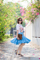 brown 31 Phillip Lim bag - sky blue SARAH LAI skirt - white cropped Ziztar top