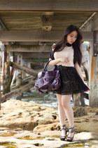 black lace Forever21 skirt - purple balenciaga bag - light pink ayk top