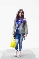 olive green H&M coat - blue mesh Amelie street coat - sky blue sass & bide jeans
