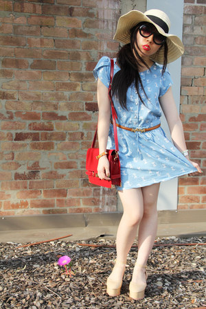 periwinkle kitty print random dress - asos hat - ruby red random bag