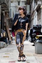 black printed Ksubi jeans - black velvet Zara blazer