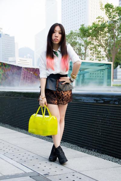 candy Furla bag - glitter Topshop boots - peplum Zara belt