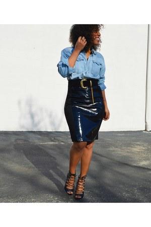 black asos skirt - light blue denim shirt Levis shirt