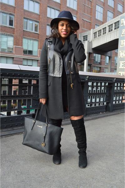 leather Zara coat - suede BDG boots - knit H&M dress - Zara hat