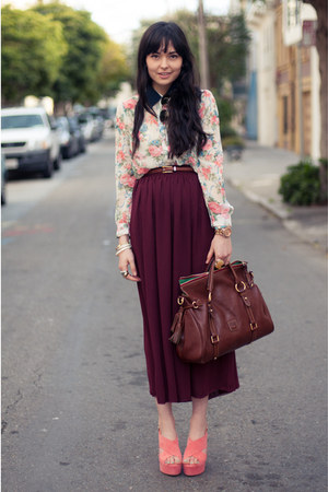 crimson American Apparel skirt - dark brown Dooney &amp; Bourke bag