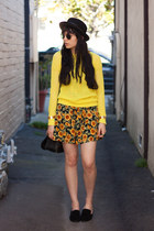 neon madewell sweater - vintage dress - vintage coach bag
