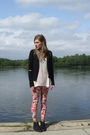 Black-forever-21-cardigan-pink-h-m-top-thrifted-leggings-gold-cant-remembe