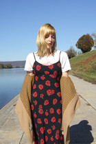 beige vintage coat - red vintage dress - white t-shirt - black vintage boots