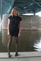 black BCBGirls suit - black DKNY stockings - black Dr Martens shoes - green H&M