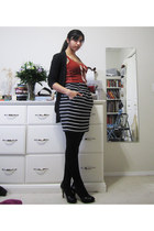 black plush-lined Rickis tights - white striped Dynamite skirt