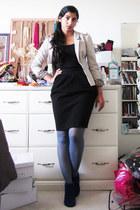 blue microfibre Feet First boots - beige leopard lined H&M blazer