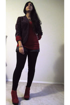 purple velvet Gap jacket - ruby red cold shoulder Forever 21 shirt