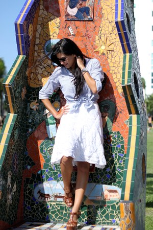 light blue top - white skirt - brown shoes - sunglasses