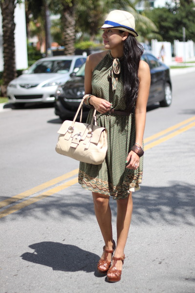 green MNG by Mango dress - brown Steve Madden shoes - beige coach purse - beige
