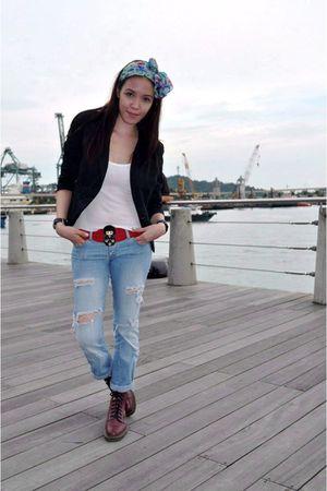 Topshop blazer - Topshop shirt - Miss Selfridge jeans - doc martens boots - Zara