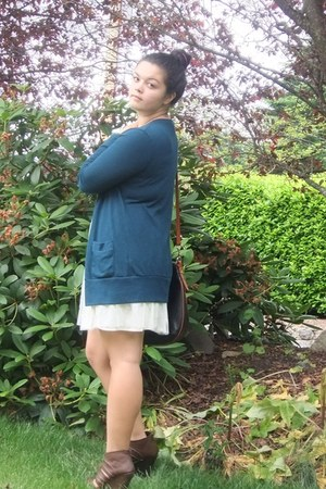 white Forever 21 dress - black Dooney & Bourke bag - teal Forever 21 cardigan -