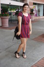 Maroon-mimi-chica-dress-black-gojane-bag-black-gojane-sandals
