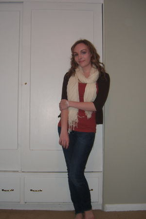 white H&M scarf - blue H&M jeans - brown Nordstrom cardigan