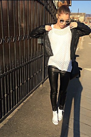 black Zara pants - white Converse shoes - tan H&M sunglasses