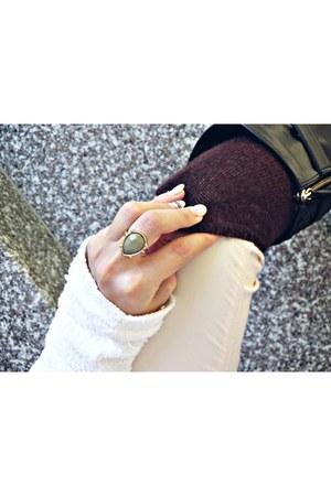 crimson Zara boots - crimson H&M socks - army green H&M ring