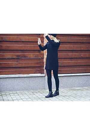black new look boots - black H&M tights - H&M blouse