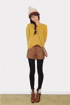 mustard gmarket knit sweater - tawny dollhouse aviator boots
