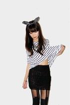 white striped t-shirt - black rosette skirt - black suspender stockings