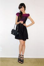 black chanel medium flap bag - black strappy shoes - magenta sussi lace dress