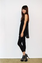 black Fringe top - black Sequin leggings - black studded shoes