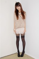 beige leopard print sweater - peach chiffon skirt - black garter stockings - bla