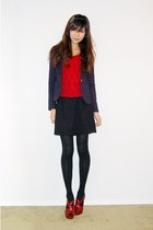 navy gold-button blazer - red knit sweater - black mini skirt - black stockings