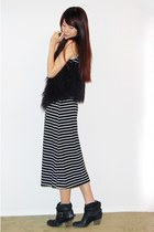black striped maxi dress - black furry vest - black ankle leather boots - silver
