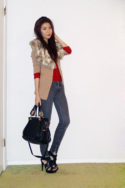 black platforms Zara sandals - gray zip ankle Miss Sixty jeans