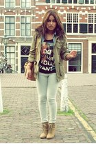 tan brown boots - army green H&M jacket - heather gray H&M leggings - blue Mango