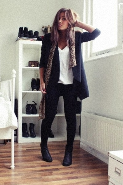 black Sixty Seven boots - black H&M leggings - black Monki blazer - white H&M sh